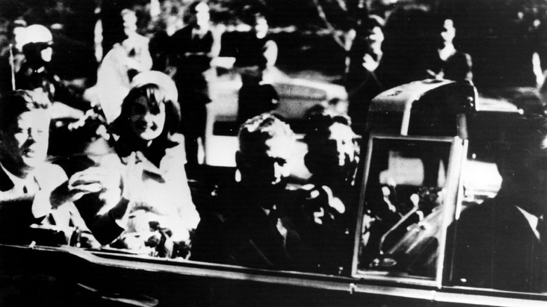 John F. and Jackie Kennedy in car on day of his assassination