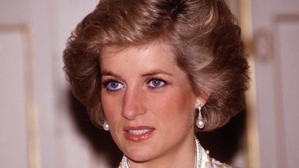 Princess Diana with pink lipstick