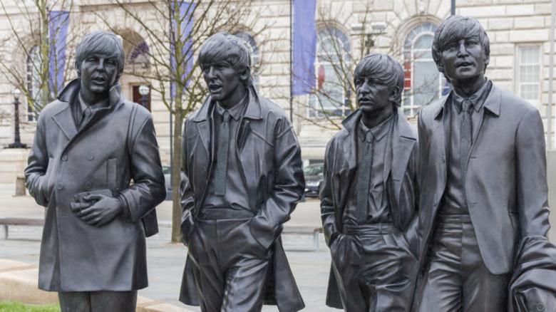 Bronze statues Beatles Liverpool Waterfront