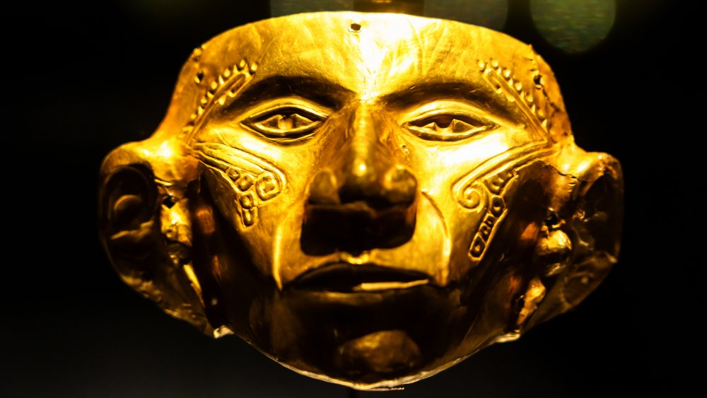 Golden mask on display at the Museo del Oro, Bogotá, Colombia.