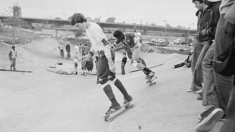 Skateboarders in the UK circa 1977