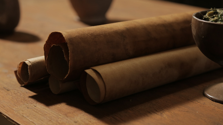 Three rolls of Biblical scripture