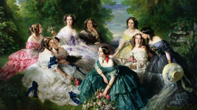 A painting of women in gowns talking with one another in a meadow