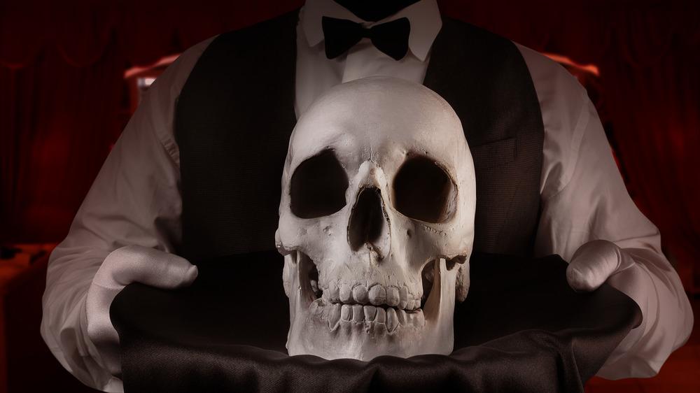 Human skull on platter