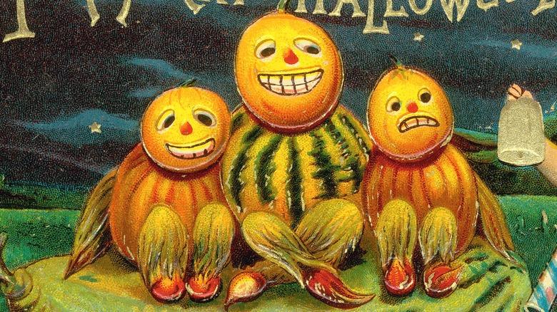 Halloween postcard with jack-o'-lanterns