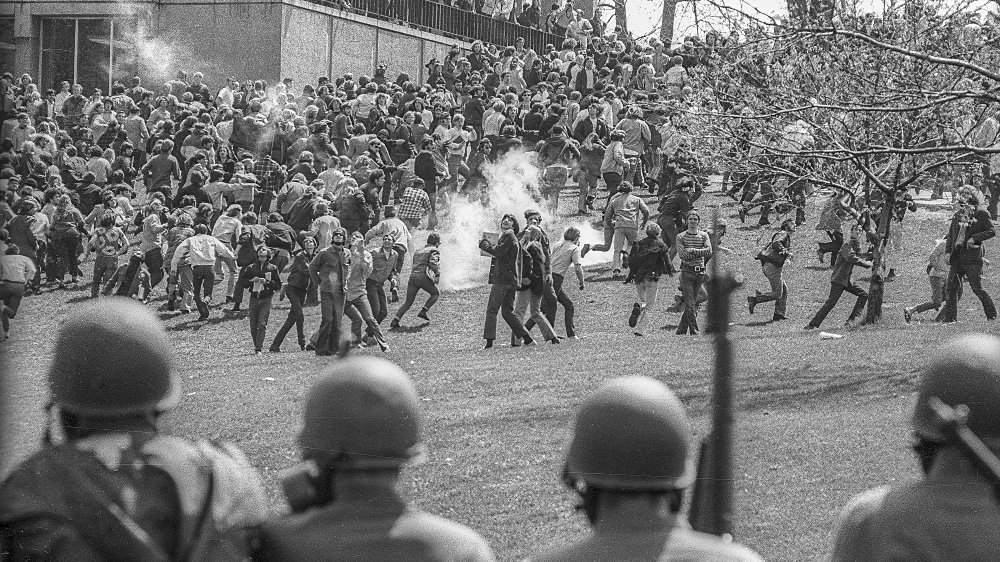 Ohio National Guardsmen and students at Kent State in 1970