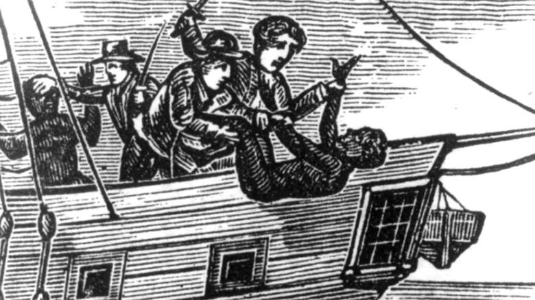 Enslaved people being thrown overboard