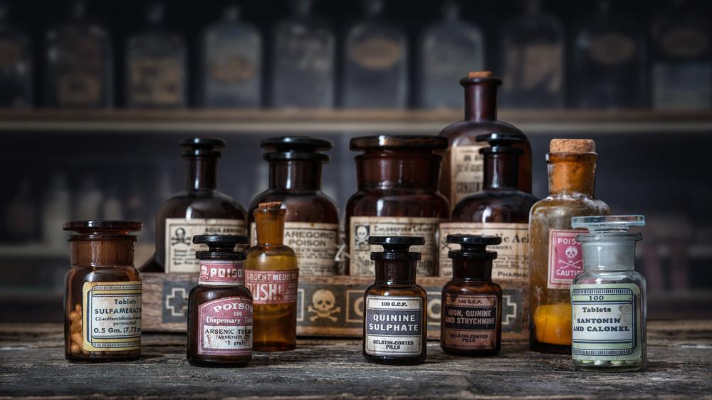 old drug bottles on table