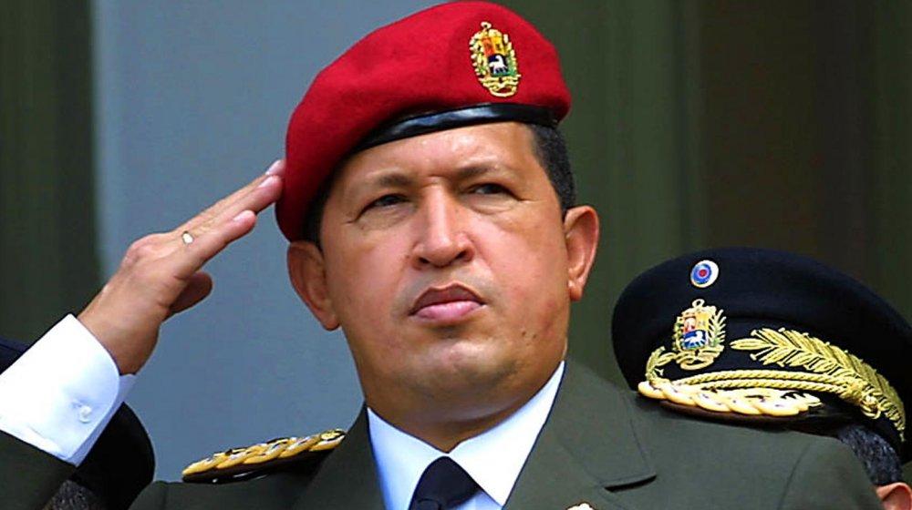 Hugo Chavez salutes