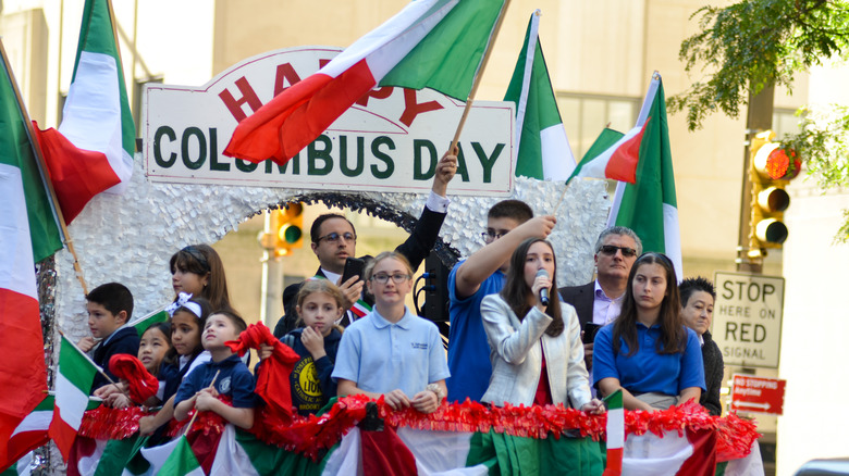 Columbus Day Parade on city street