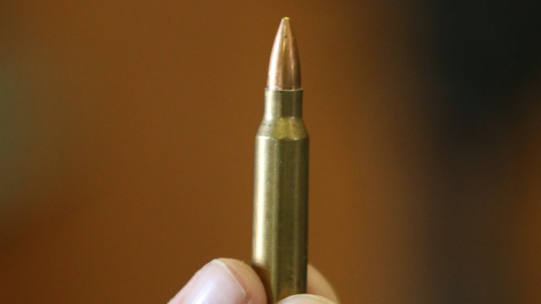 person holding single bullet