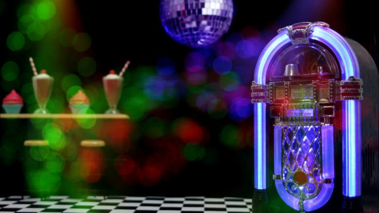 purple juke box under disco ball