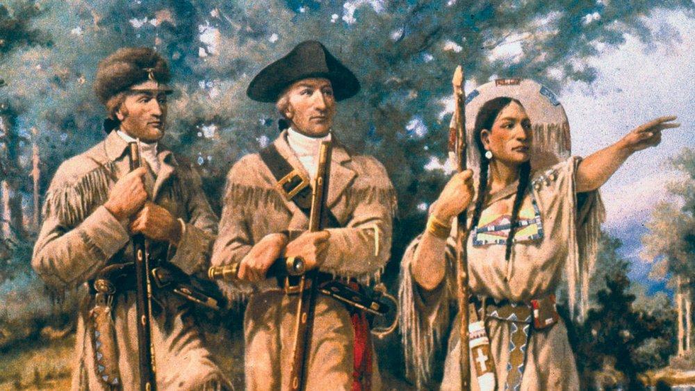 Portrait of Lewis, Clark, and Sacagawea