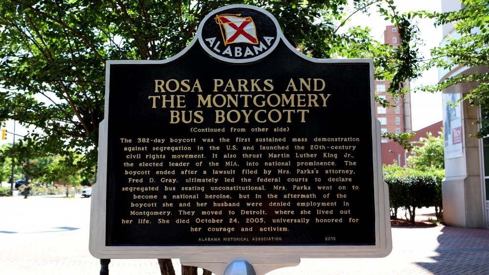 Rosa Parks and the Montgomery Bus Boycott Historic marker in Montgomery, Alabama in 2018