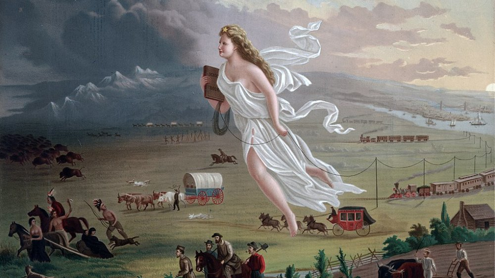 painting of angel flying above settlers in wagons