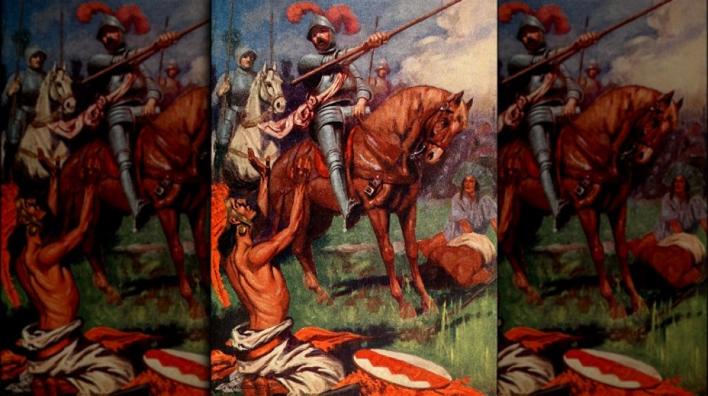 painting of a conquistador fighting natives
