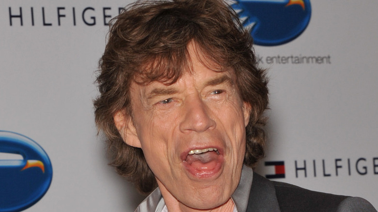 Mick Jagger with his mouth open