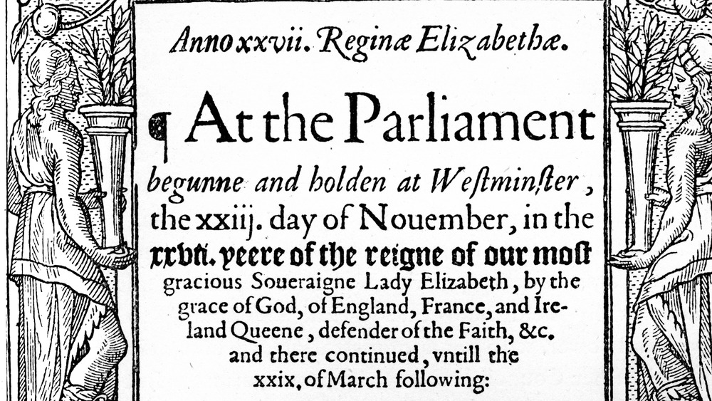 """Statutes of 1585, showing headline """"At the Parliament"""""""
