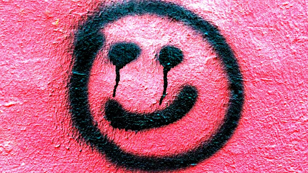 Spray painted smiley face