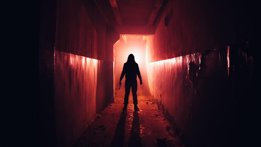 Creepy silhouette in a red hallway