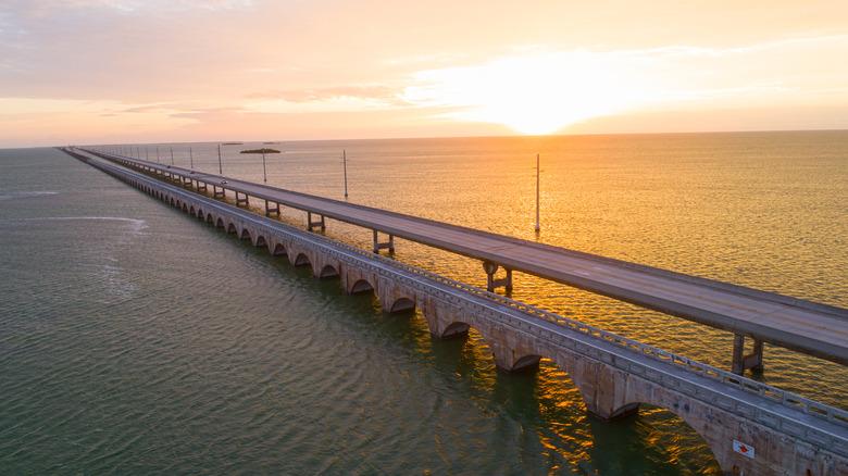seven mile bridge under sunset