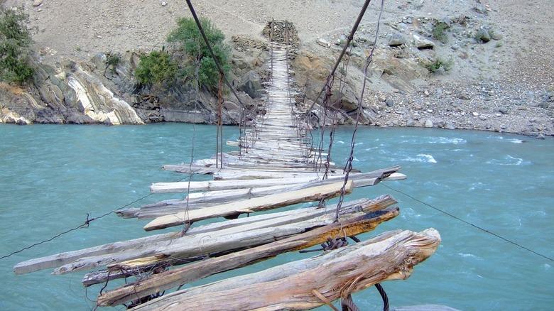 rope bridge over water