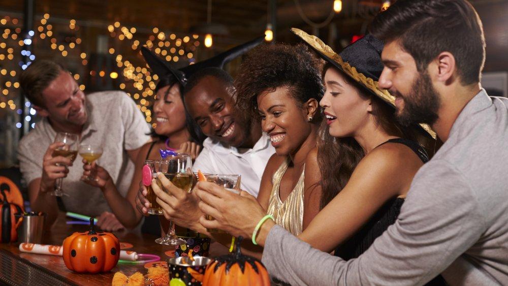 Friends at Halloween bar