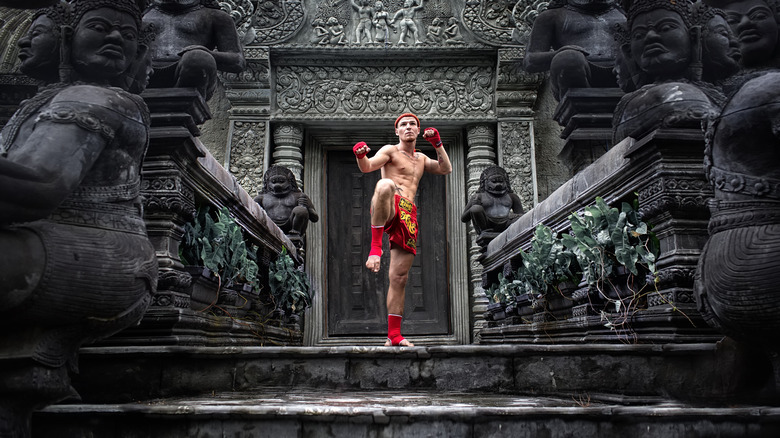 man kicking in front of temple