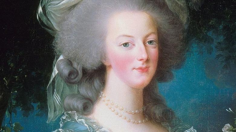 Portrait of Marie Antoinette holding rose