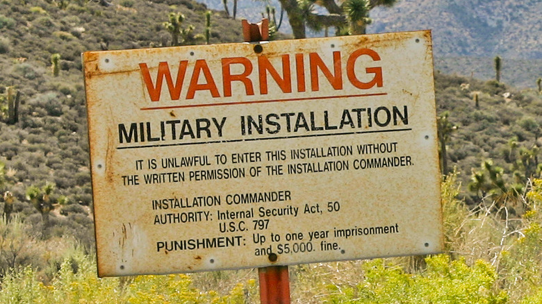 Signs at the entrance to Area 51, Groom Lake, Nevada