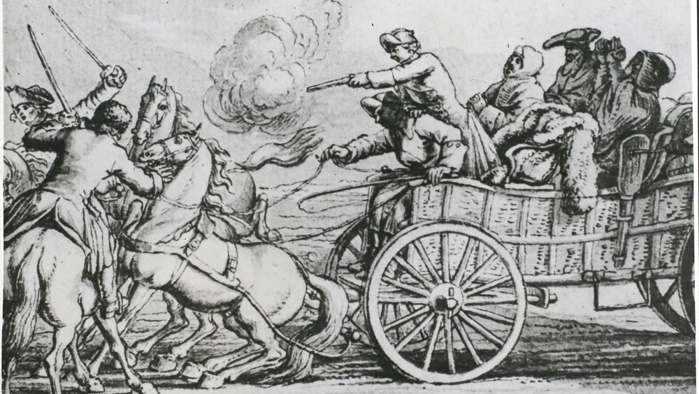 illustration of highwaymen attacking a stagecoach