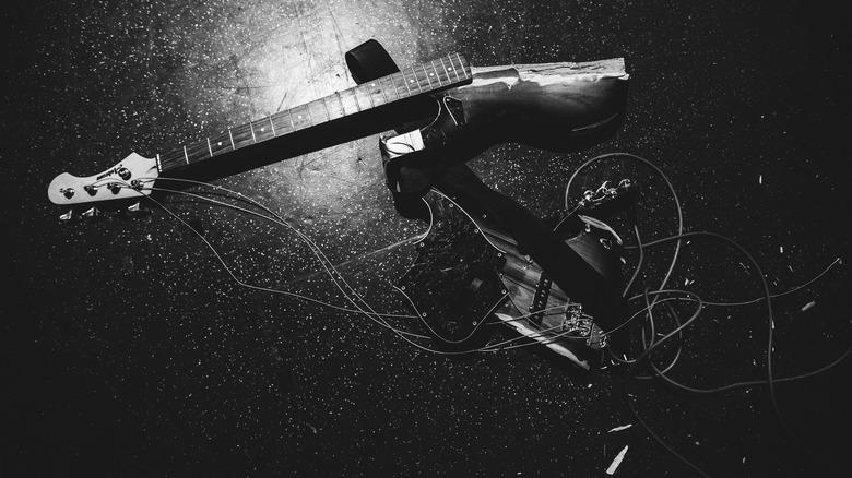 A broken electric guitar
