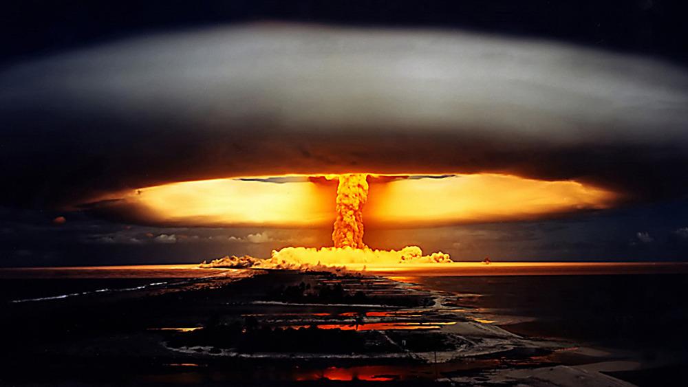 A nuclear bomb's mushroom cloud