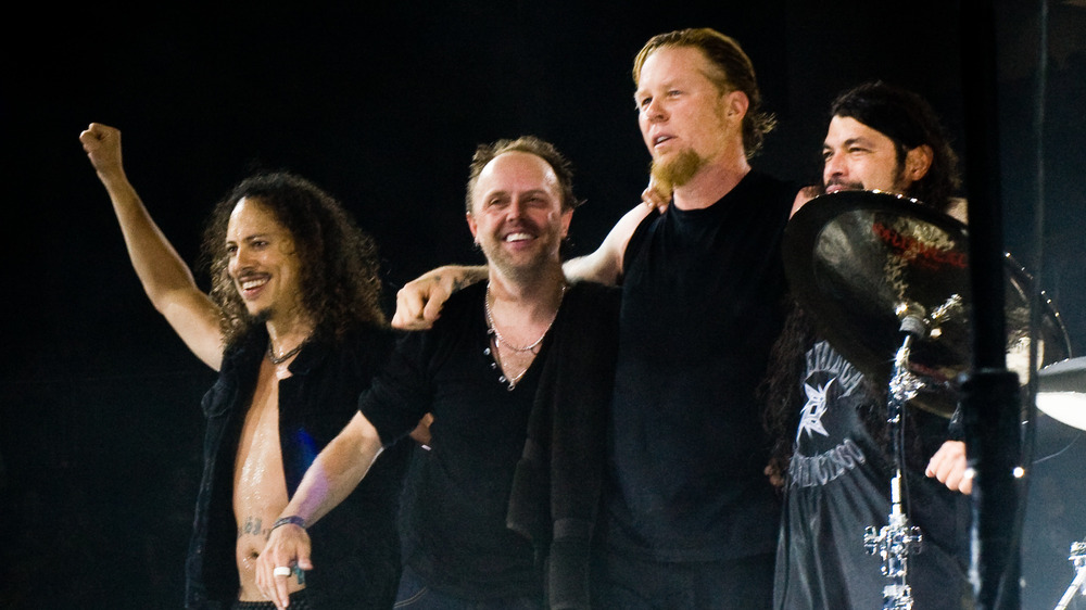 Metallica on stage in 2008