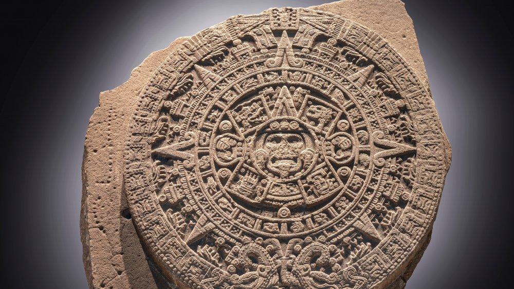 The Aztec Sun Stone on display at Museo Nacional de Antropología in Mexico City