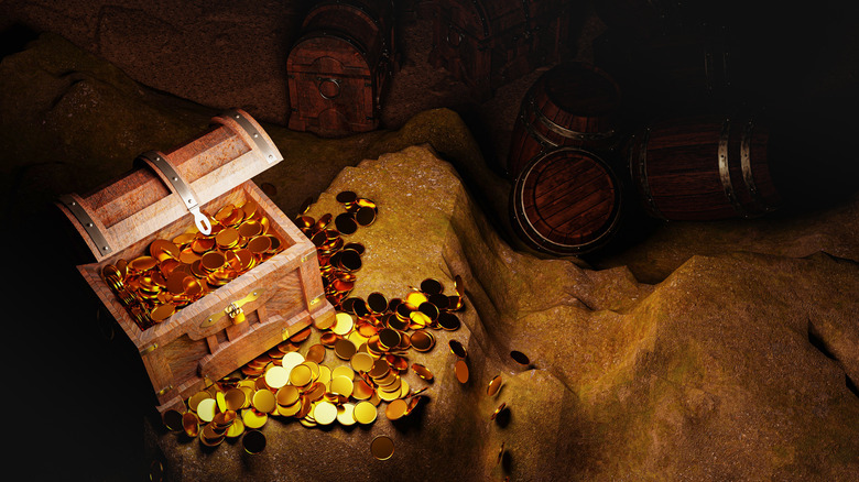 Treasure chest in a cave