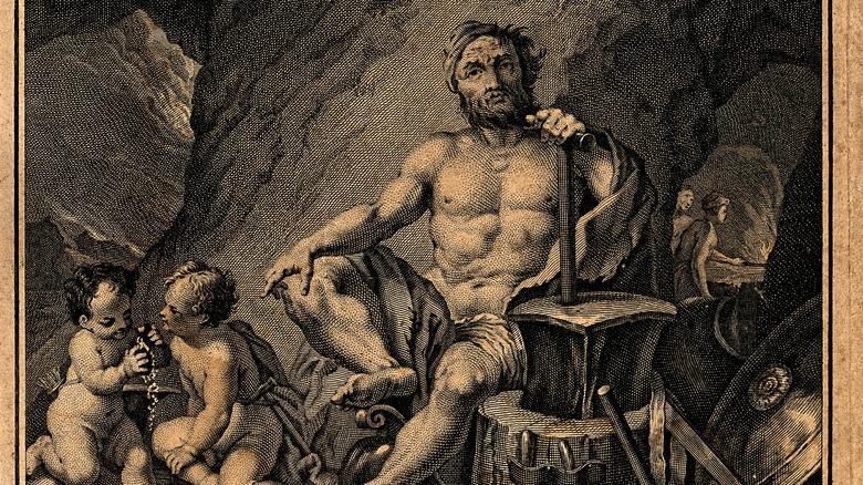 Hephaestus and tools illustration