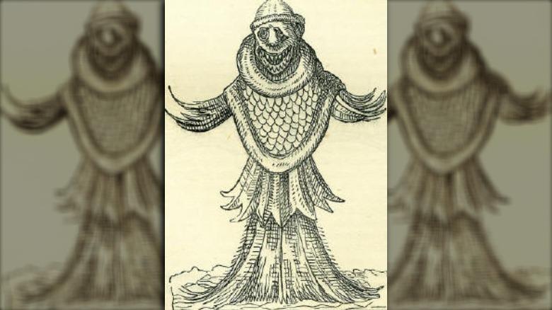 19th century illustration sea monk