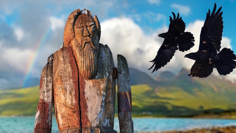 Odin statue two ravens