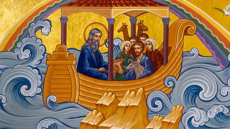 Artist's impresson of Noah's Ark and Biblical flood