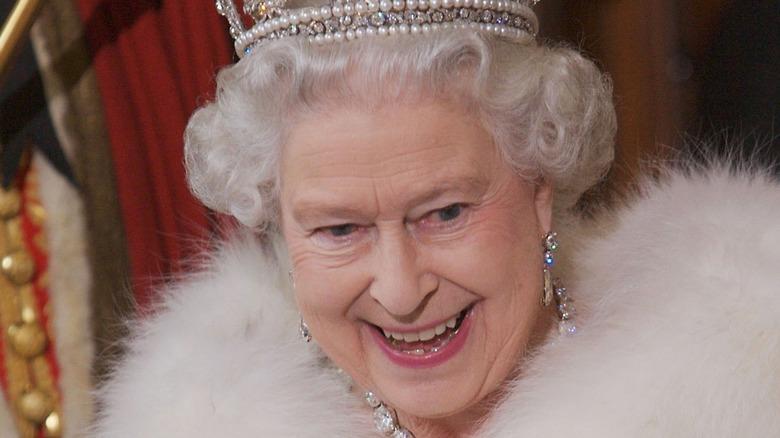 Queen Elizabeth enjoying herself