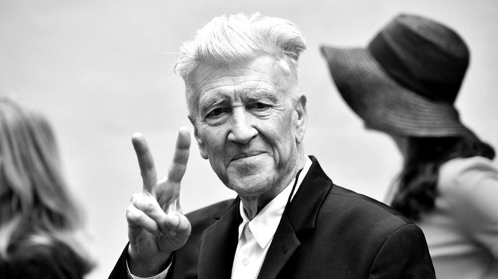 David Lynch giving peace sign