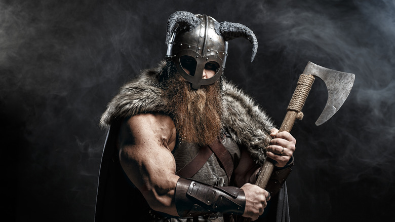 Viking with helmet and axe