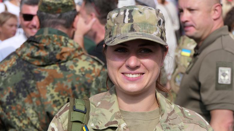 Ukranian woman in military uniform