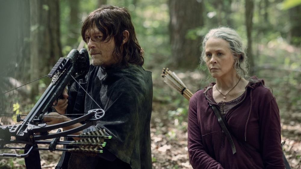 Norman Reedus and Melissa McBride as Daryl Dixon and Carol Peletier on The Walking Dead
