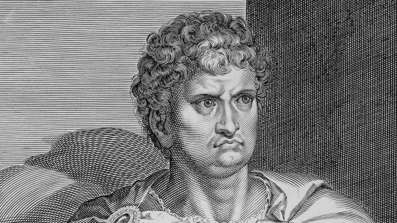 woodcarving of roman emperor nero