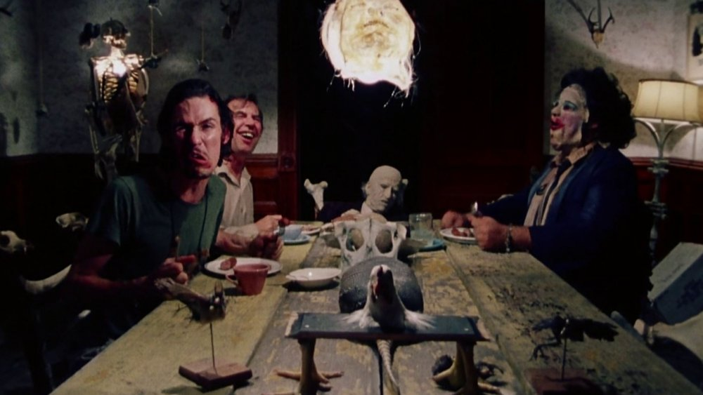 The Sawyer family enjoying dinner in Texas Chainsaw Massacre