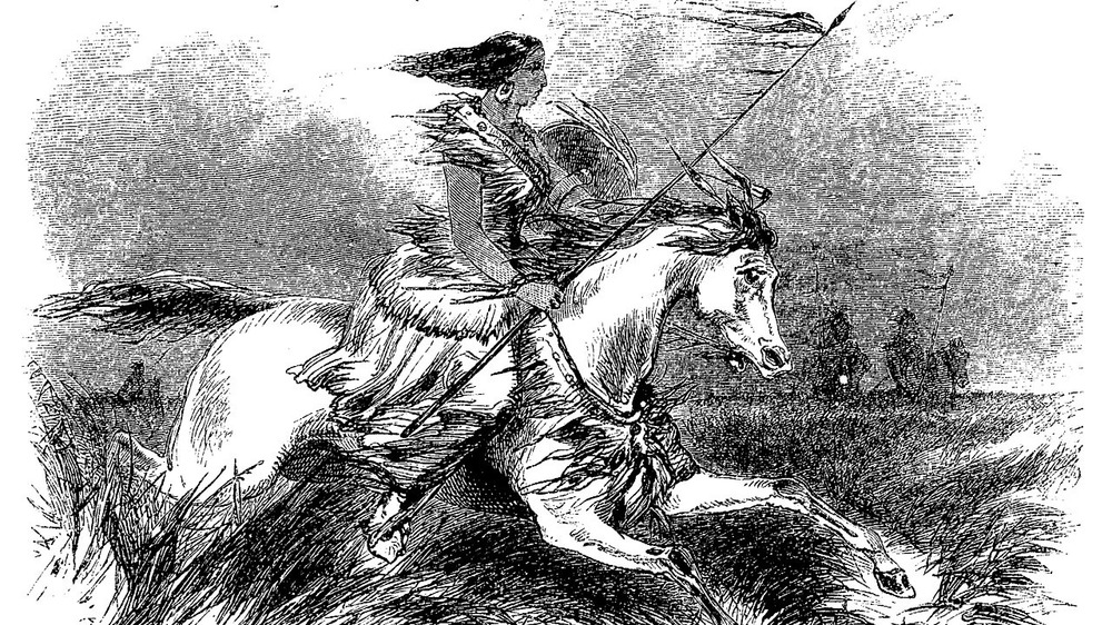 Pine Leaf in drawing riding a horse