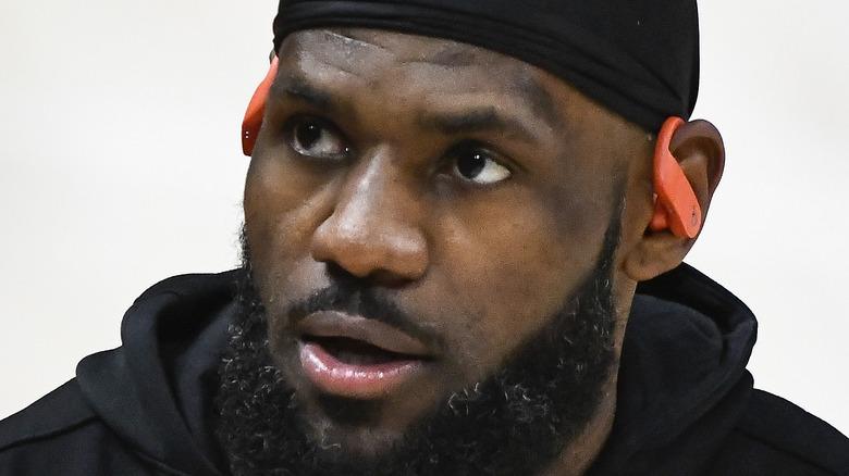 LeBron James staring