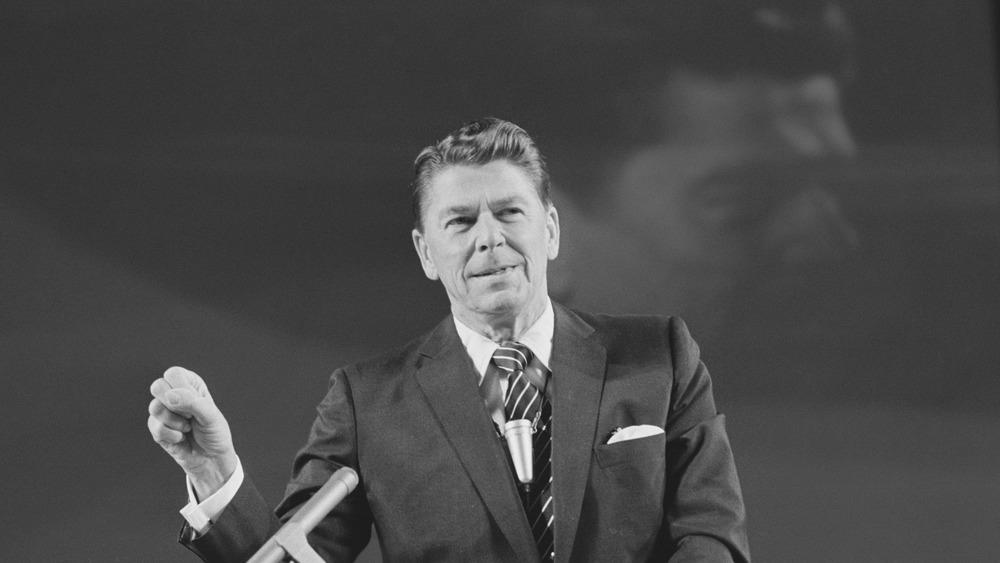 Ronald Reagan gives a speech
